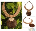 Leather 'Tan Tribal Glam' Coconut Wood Necklace (Thailand)