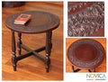Mohena Wood and Leather 'Round Colonial Guard' Table (Peru)