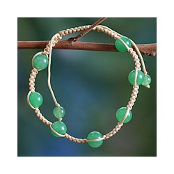 Handcrafted Cotton 'Peace' Jade Bracelet (India)