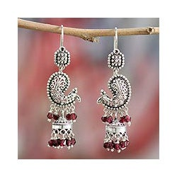 Sterling Silver 'Paisley Peacock' Garnet Earrings (India)