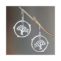 Sterling Silver 'Taru Menyan' Earrings (Indonesia)