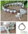 Silver Leather 'Lover's Universe' Pearl Bracelet (7 mm) (Thailand)