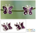 Sterling Silver 'Princess Butterfly' Amethyst Button Earrings (India)