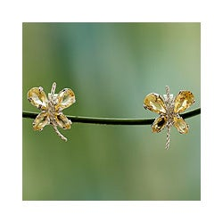 Sterling Silver 'Slender Butterfly' Citrine Button Earrings (India)