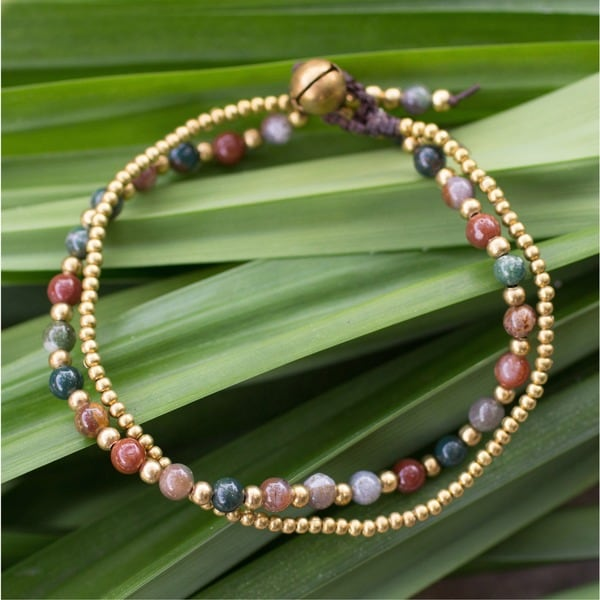 Handcrafted Brass 'Color Harmony' Jasper Bracelet (Thailand)