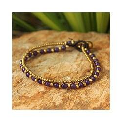 Handcrafted Brass 'Dazzling Harmony' Amethyst Bracelet (Thailand)
