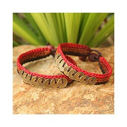Set of 2 Handcrafted Brass 'Cinnamon Coins' Bracelets (Thailand)