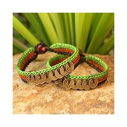 Set of 2 Handcrafted Brass 'Kiwi Coins' Bracelets (Thailand)