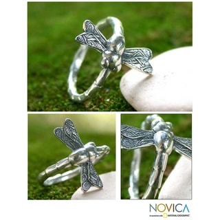 Sterling Silver Men's 'Dragonfly Fortunes' Ring (Indonesia)