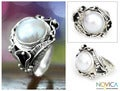 Sterling Silver 'Nest of Lilies' Pearl Ring (12 mm) (Indonesia)