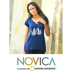 Rayon 'Royal Blue Lotus Peace' Tunic (Indonesia)