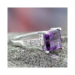 Sterling Silver 'Lilac Sparkle' Diamond Accent Amethyst Ring (India)