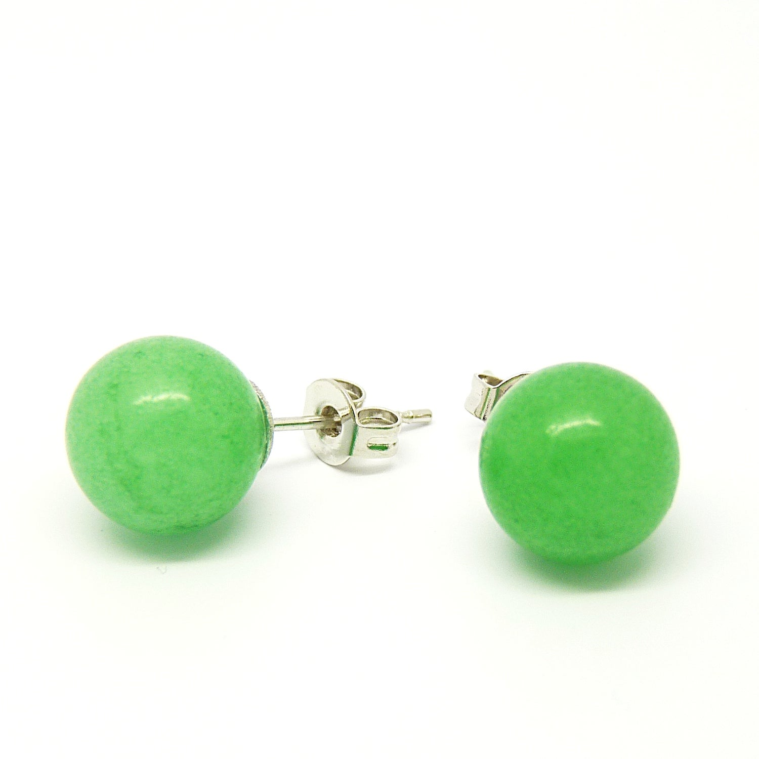 Pretty Little Style Silvertone Green Apple Agate Earrings