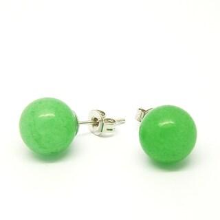 Pretty Little Style Silvertone Green Apple Agate Earrings