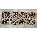 'Flower and Leaf' Siapo Bark Cloth Art (Samoa)