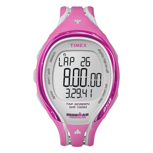 Timex Women's T5K591 Ironman Sleek 250-Lap TapScreen Pink/Grey Watch