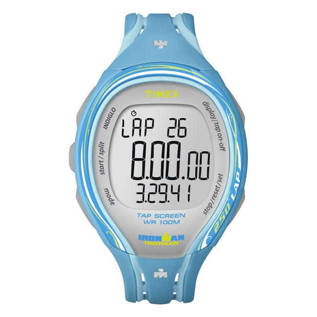 Timex Women's T5K590 Ironman Sleek 250-Lap TapScreen Turquoise/Grey Watch