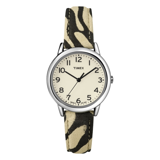 Timex Women's T2N967 Elevated Classics Black Zebra Patterned Strap Watch
