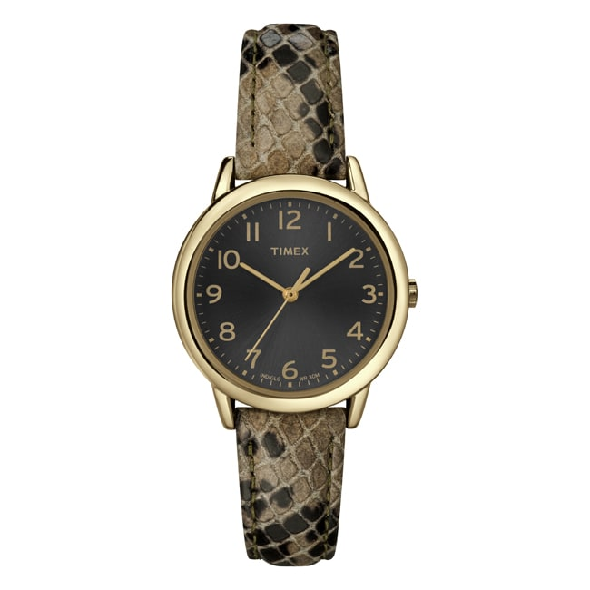 Timex Women's T2N965 Elevated Classics Taupe Python Patterned Strap Watch