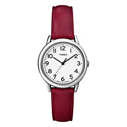 Timex Women's T2N952 Elevated Classics Dress Red Leather Strap Watch