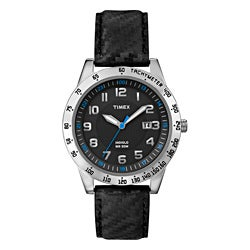 Timex Men's T2N920 Elevated Classics Carbon Texture Leather Strap Watch
