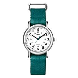 Timex T2N915KW Women's Weekender Slip Thru Green Nylon Strap Watch