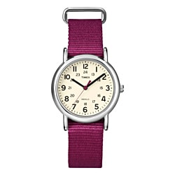 Timex Women's T2N914 Weekender Slip Thru Berry Nylon Strap Watch