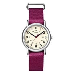 Timex T2N914KW Women's Weekender Slip Thru Berry Nylon Strap Watch