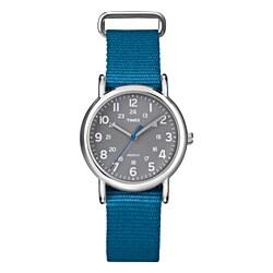 Timex T2N913KW Women's Weekender Slip Thru Blue Nylon Strap Watch