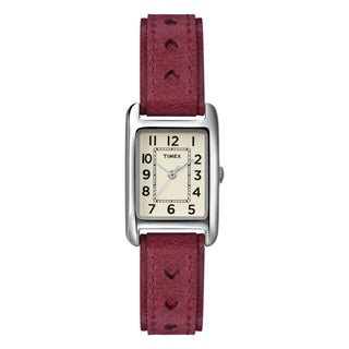 Timex Women's T2N906 Weekender Rectanglular Case Red Leather Strap Watch