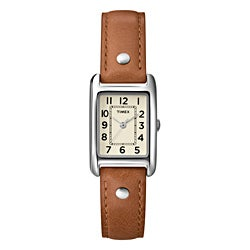 Timex Women's T2N905 Weekender Rectanglular Case Brown Leather Strap Watch