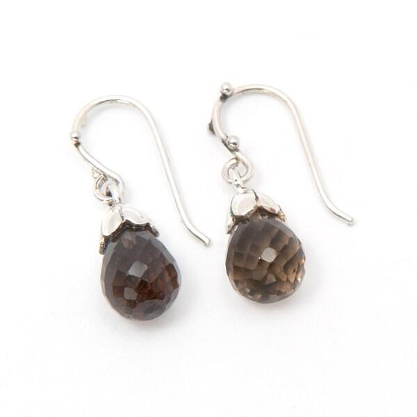 Handmade Sterling Silver Smoky Quarts Drop Earrings (India)