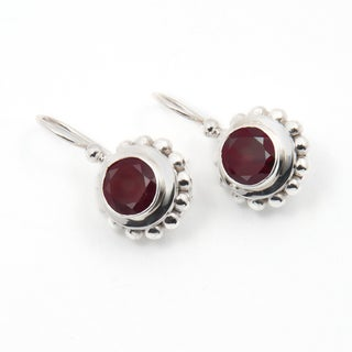 Handmade Sterling Silver Garnet Earrings (India)