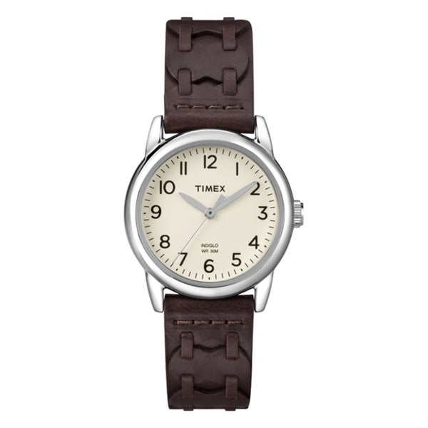 Timex Women's T2N9029J Weekender Brown Leather Strap Watch