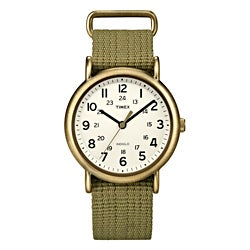 Timex Unisex T2N894 Weekender Slip Thru Olive Green Nylon Strap Watch