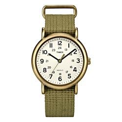 Timex T2N894KW Unisex Weekender Slip Thru Olive Green Nylon Strap Watch