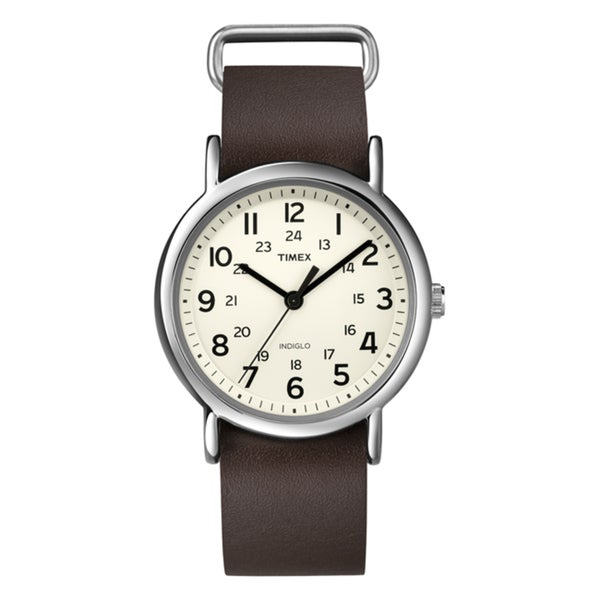 Timex Unisex T2N8939J Weekender Brown Leather Slip-Thru Watch