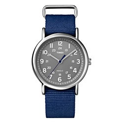 Timex Unisex T2N891 Weekender Slip Thru Blue Nylon Strap Watch