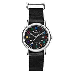 Timex Women's T2N869 Weekender Slip Thru Black Nylon Strap Watch