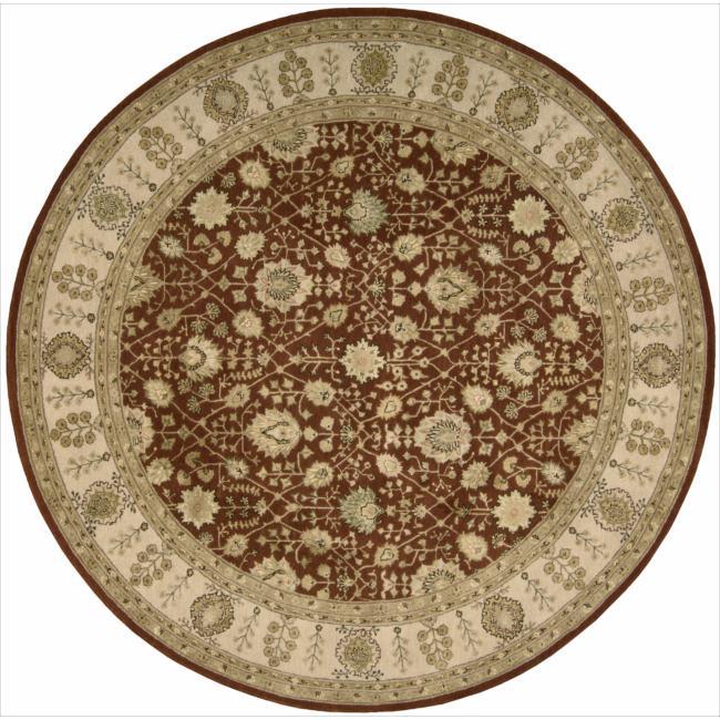 Nourison 3000 Hand-tufted Rust Wool Rug (6 x 6) Round