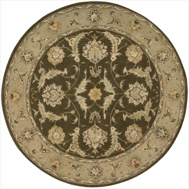 Nourison 3000 Hand-tufted Brown Wool Rug (6 x 6 ) Round