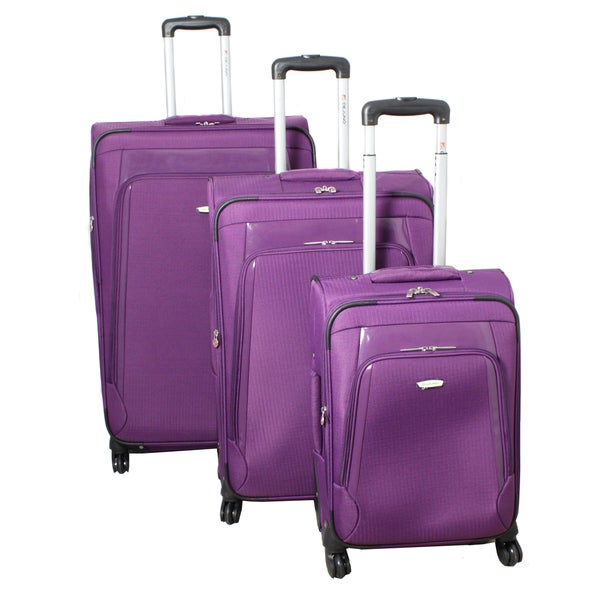 Dejuno Alliance Purple 3-piece Expandable Spinner Luggage Set