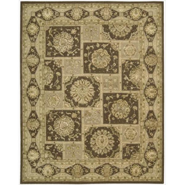 Nourison 3000 Hand-Tufted Brown Floral Rug (5'6 x 8'6)