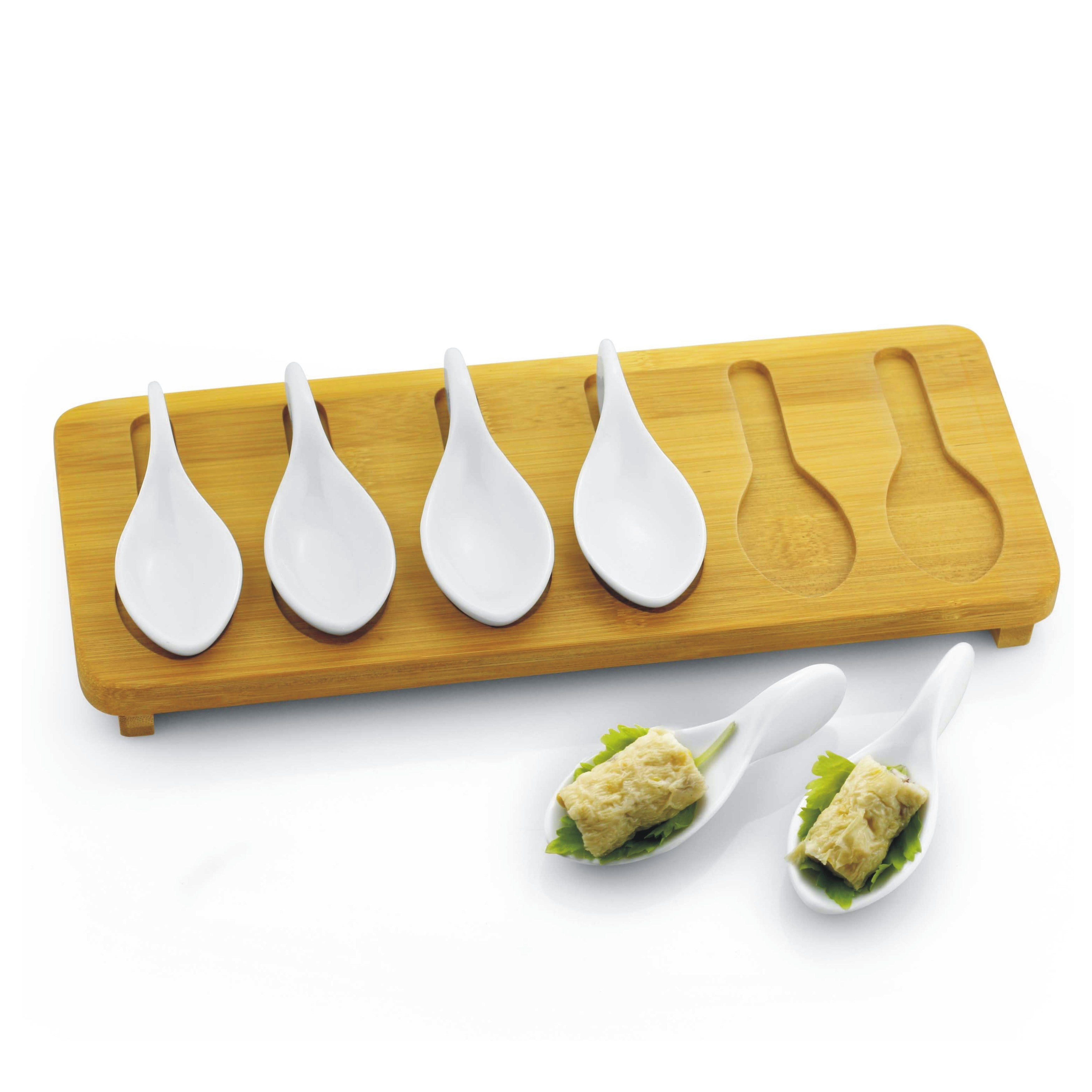 7-piece Porcelain Tasting Spoons with Bamboo Tray Set