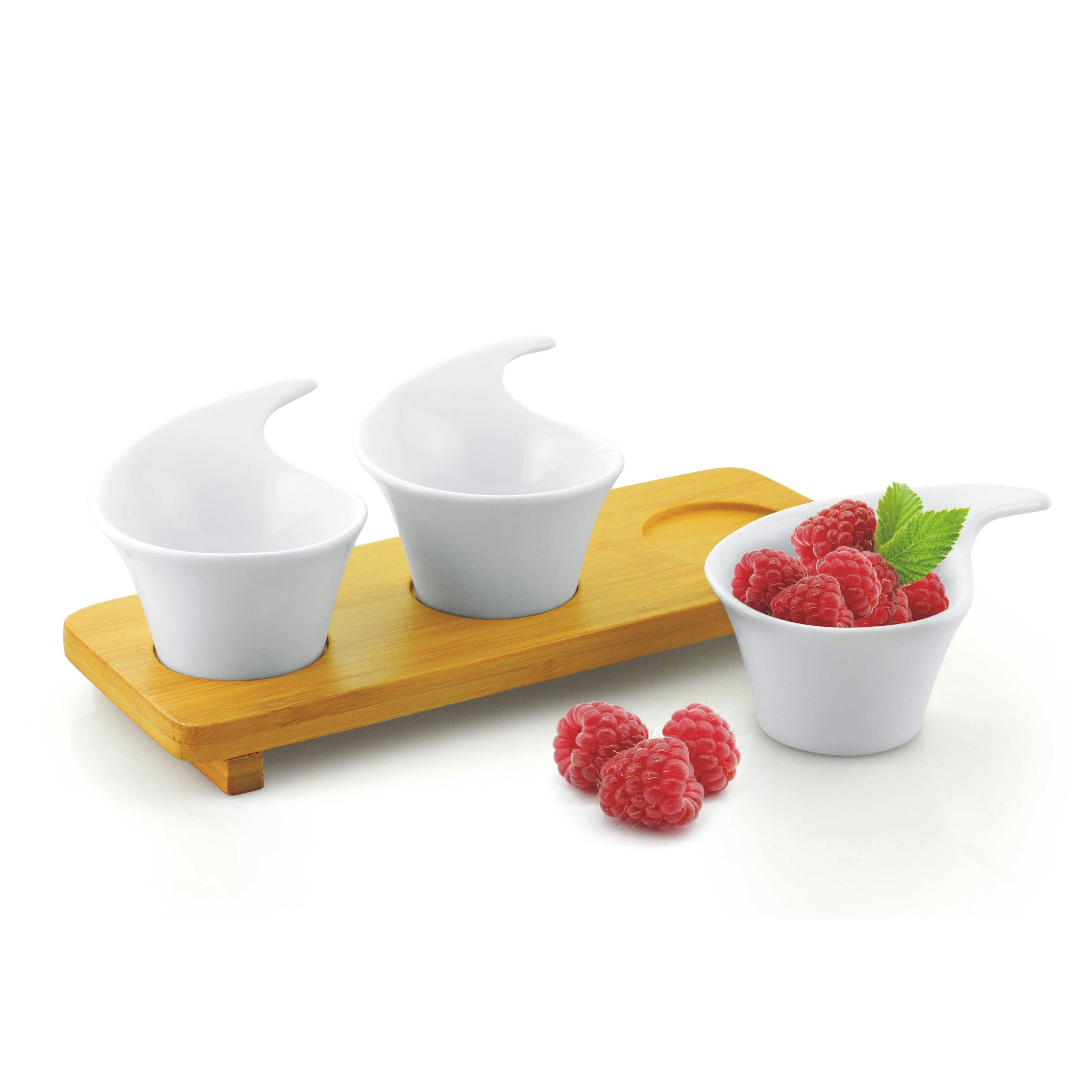 4-piece Porcelain Tasting Cups with Bamboo Tray Set