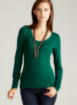 Elie Tahari Nila Ruched Slv Knit Top