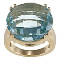 FJC 14k Yellow Gold Round Disc Blue Topaz Ring
