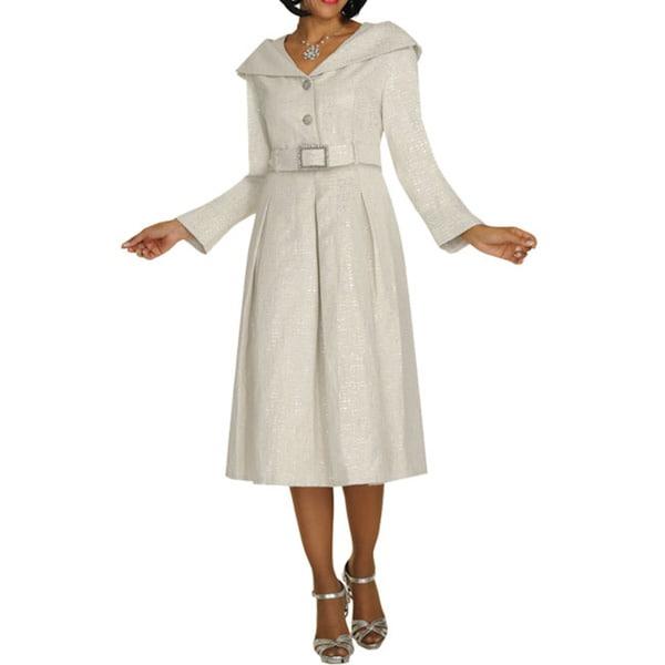 Divine Apparel Textured Women's Jacket Dress w/ Belt