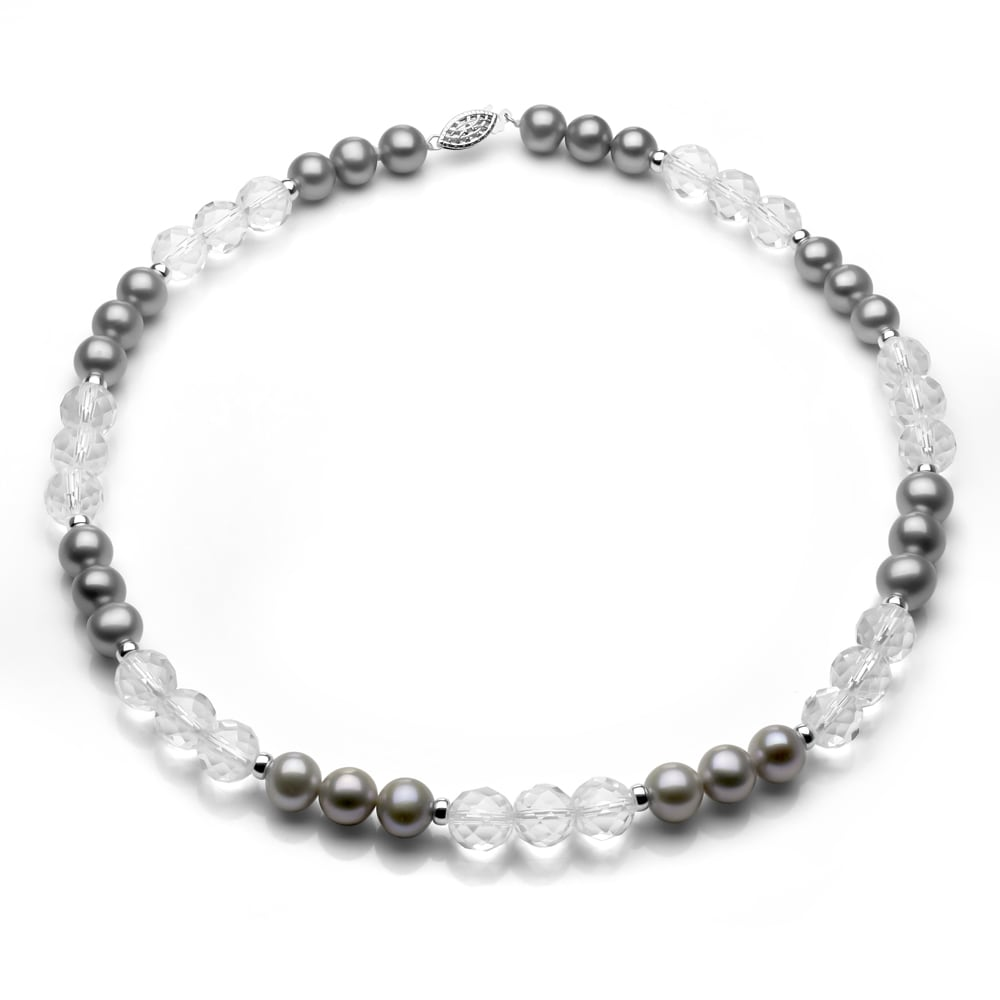 DaVonna Silver Grey FW Pearl with Crystals and Silver Beads Necklace (8-10 mm)