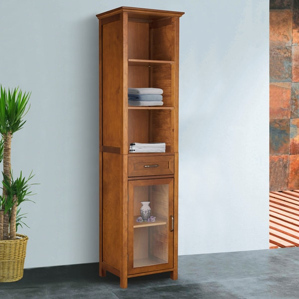 chamberlain oak finish linen tower storage cabinet by elegant home